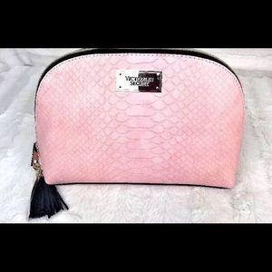 Victoria's Secret Makeup Cosmetic Bag Pink Python